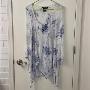 Rampage flowy sheer blue top with bell sleeves SXL